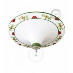Ceiling Lamp - Ceramic - Green Floral Decor