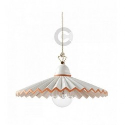 Hanging Lamp - Burnished Iron and Ceramic, Terracotta Decor