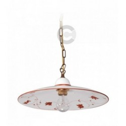 Hanging Lamp - Ceramic and Coppered Chain, decor floral brown