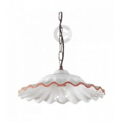 Hanging Lamp - Ceramic with Brushed Burnished Iron Chain - Tuscany Decor