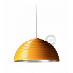 Hanging Lamp - Ceramic - External Finish in Yellow Enamel, Silver Leaf Inside
