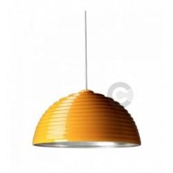 Sospensione in ceramica, finitura esterna in smalto giallo, interna in foglia argento – 100% Made in Italy