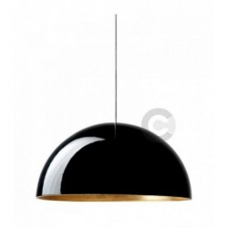 Suspension en céramique, finition extérieure émail noir, intérieure feuille or, 4 lampes – 100% Made in Italy