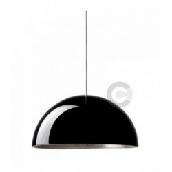 Suspension en céramique, finition extérieure  émail noir, intérieure feuille argent, 4 lampes – 100% Made in Italy