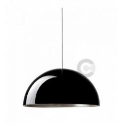 Sospensione in ceramica, finitura esterna in smalto nero, interna in foglia argento, 4 lampade – 100% Made in Italy