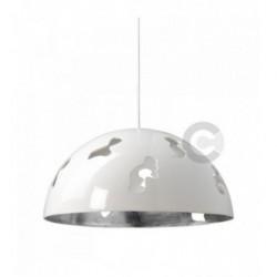 Suspension en céramique Ø48cm, finition extérieure  émail blanc, intérieure feuille argent, 4 lampes – 100% Made in Italy