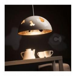 Sospensione in ceramica Ø48cm, finitura esterna in smalto bianco, interna in foglia oro, 4 lampade – 100% Made in Italy