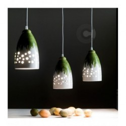 Hanging Lamp - Ceramic - Perforated -Light Green Decor