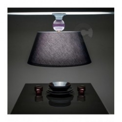 Ceiling Lamp with Black Lampshade - Ceramic - Grey and Violet Enamel Decor
