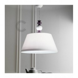Hanging Lamp with White Lampshade - Ceramic  - White and Violet Enamel Decor