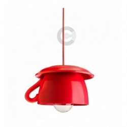Cup Hanging Lamp - Ceramic - Red Enamel Decor