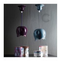 Suspension Goutte en céramique, motif émail violet – 100% Made in Italy