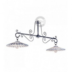 Two Lights Balancer - Ceramic and Anthracite Iron with Chain - Blue Decor