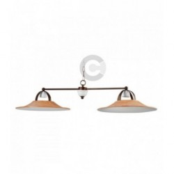 Two Lights Balancer - Ceramic and Burnished Iron with Chain - Convivium Decor