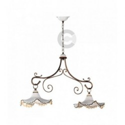 Two Lights Balancer - Ceramic and Antique Gold Iron with Chain - Elite Decor