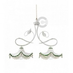 Two Lights Balancer - Ceramic and Semy Gloss White Iron with Chain - Springtime Decor