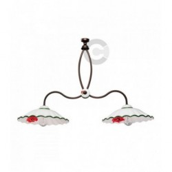 Two Lights Balancer - Ceramic and Burnished Iron with Chain - Poppy Decor