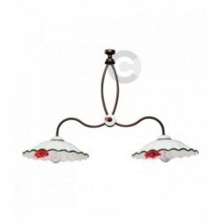 Barre 2 lumières en céramique et fer bruni avec chaîne, motif coquelicot – 100% Made in Italy