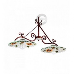 Two Lights Balancer - Ceramic  and Coppered Iron with Chain - Sunflower Decor