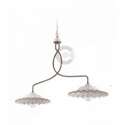 Two Lights Balancer - Ceramic and Brushed Burnished Iron with Chain - Tuscany Decor