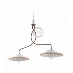 Barre 2 lumières en céramique et fer bruni brossé avec chaîne, motif Toscane – 100% Made in Italy