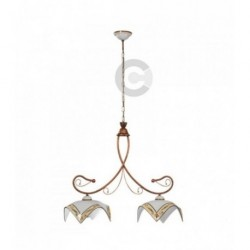 Two Lights Balancer - Ceramic and Coppered Iron with Chain - Noble Decor