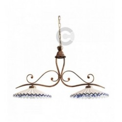 Two Lights Balancer - Ceramic - e iron coppered con chain, decor Inglese