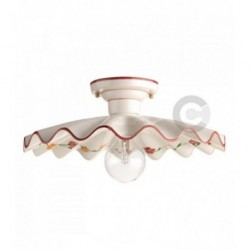 Ceiling Lamp - Ceramic - Burgundy Floral Decor
