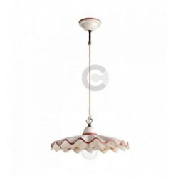 Hanging Lamp - Ceramic - Burgundy Floral Decor