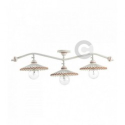 3 Lights Branch Ceiling Lamp with Junction - Semy Gloss With Iron and Ceramic - Terracotta Decor