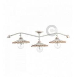 Plafonnier branche 3 lumières avec articulation, en fer blanc patiné et céramique, motif terre cuite – 100% Made in Italy