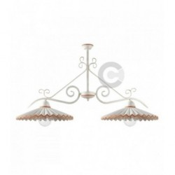 Plafoniera tralcio 2 luci in ferro bianco patinato e ceramica, con catena, decoro terracotta – 100% Made in Italy