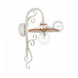 Wall Light - Semi Gloss White Iron and Ceramic - Terracotta Decor