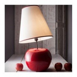Apple Lamp - Ceramic - Red Enamel Decor with Lampshade