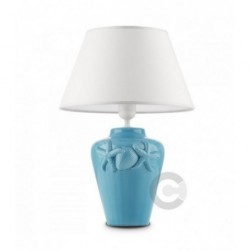 Shore Lamp - Ceramic - Turquoise Enamel Decor with Lampashade