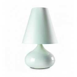 Drop Lamp - Ceramic - White Enamel Decor with Lampshade