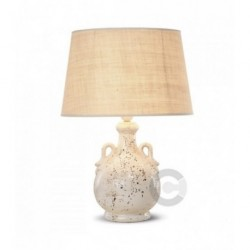 Amphora Lamp - Ceramic - Semy Gloss Tarled Enamel Decor with Lampshade