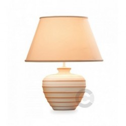 Lampada Tempo, in ceramica, decoro smalto mattone, con paralume – 100% Made in Italy