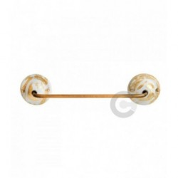 Towel Holder with Brushed Burnished Iron Bar - Torn Gold Leaf Decor