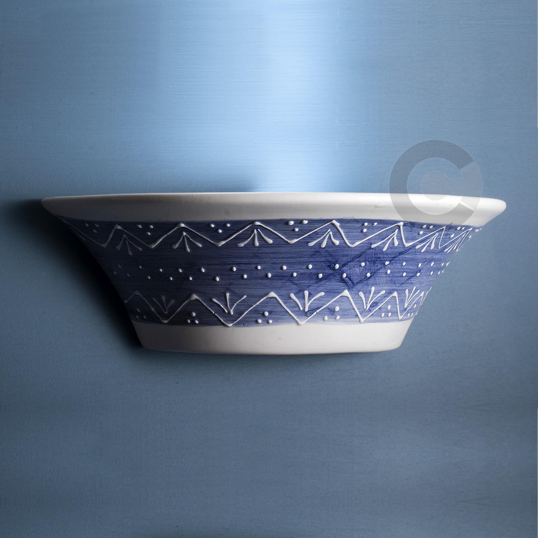 Applique aperta ceramica artigianale decoro a rilievo blu e27 aloadofball Image collections