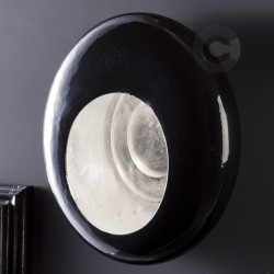 Applique in ceramica Riflessi Preziosi, decoro smalto nero lucido con interno foglia argento – 100% Made in Italy