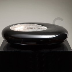Lamp - Precious Reflections - Black Glossy Enamel Decor - Silver Leaf Inside