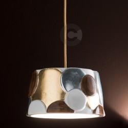 Sospensione in ceramica a rilievo,linea Marrakech, decoro marrone con foglia oro e argento – 100% Made in Italy