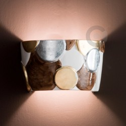 Half Bowl Light With Open Bottom- Relief Ceramic - Marrakech Line -Brown Decor with Gold and Silver Leaves