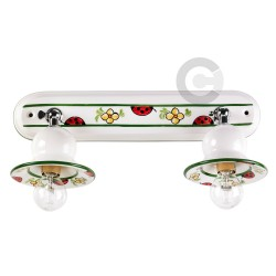 Two Lights Light Strip with Junction - Chromed Metal and Ceramic - Ladybug Decor