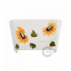Applique a vaschetta aperta in ceramica, decoro Girasole- 100% Made in Italy