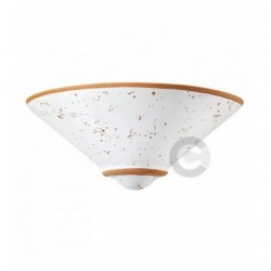 Applique a vaschetta in ceramica, decoro tarlo patinato e terracotta - 100% Made in Italy