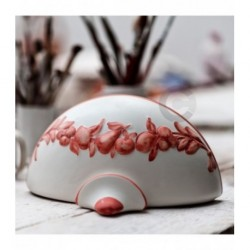 Bowl Wall Light - Ceramic - Brick Red Matt Fruit in relief decor
