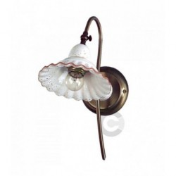 Wall Light - Brushed Burnished Iron and Ceramic - Tuscany Decor
