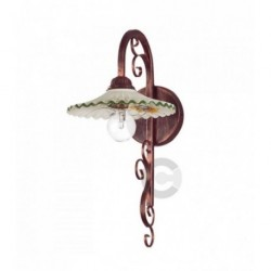 Wall Light - Coppered Iron and Ceramic - Green Floral Decor